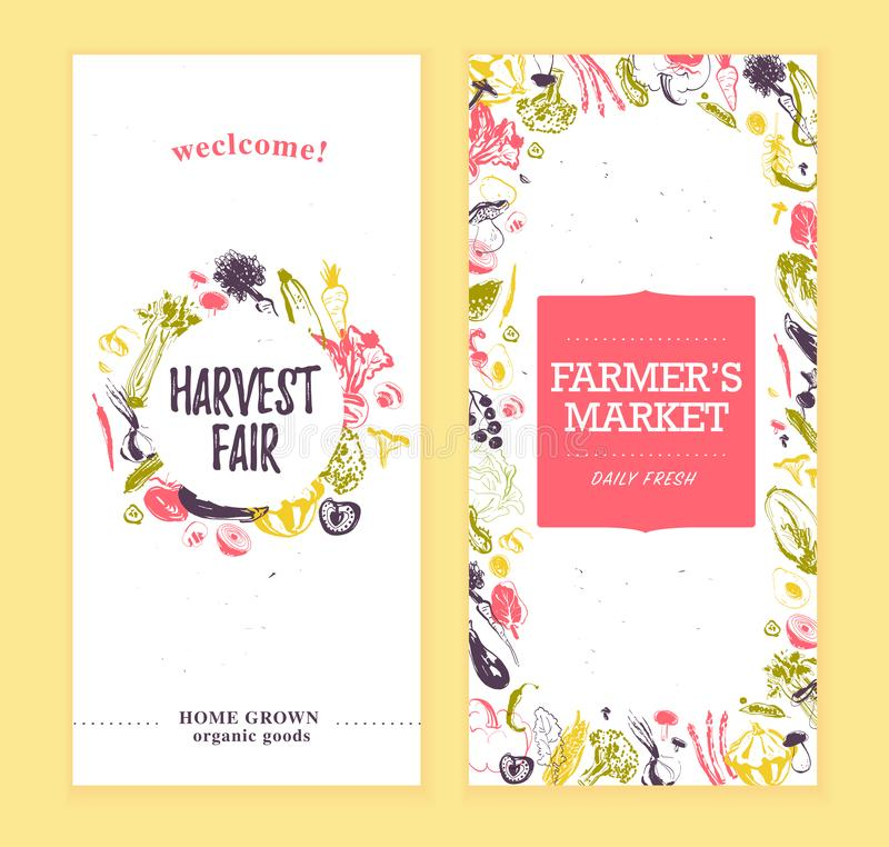 Vector farmers market banners template with frame & round label. Hand drawn sketch raw vegetables. royalty free illustration