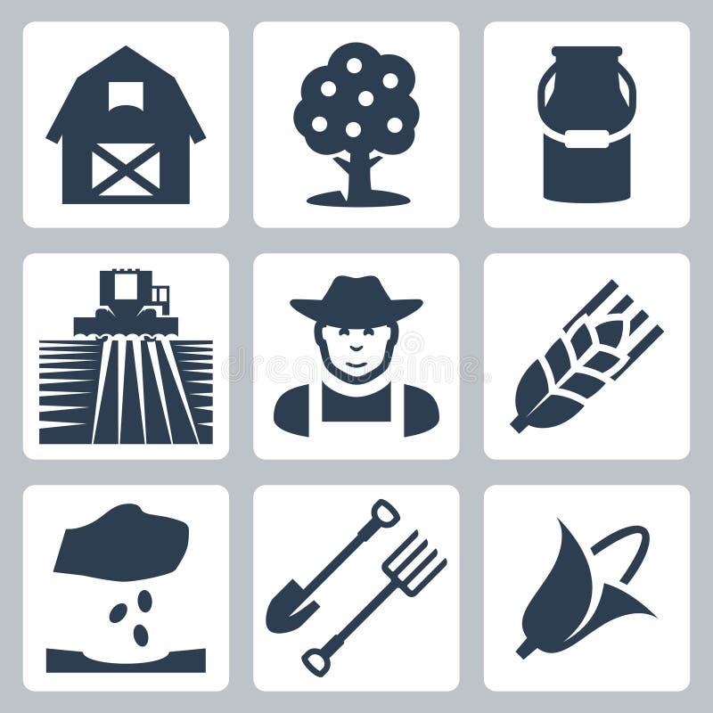 Vector farming icons set royalty free illustration