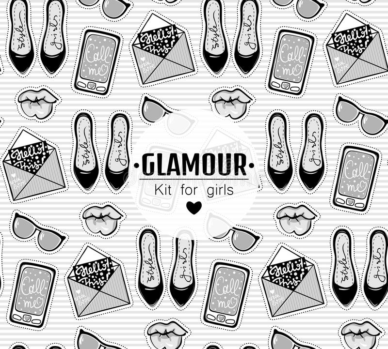 Vector fashion background with stylish contemporary stickers. royalty free illustration