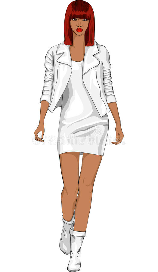 Download Vector Fashion Black Girl In A White Leather Suit Stock Vector - Image: 22027662