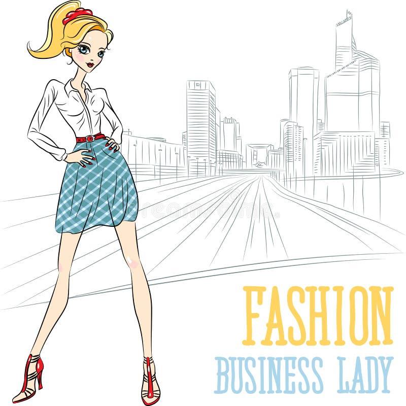 Vector fashion business girl in Defense. Vector beautiful fashion business girl on city street in Paris, La Defense vector illustration