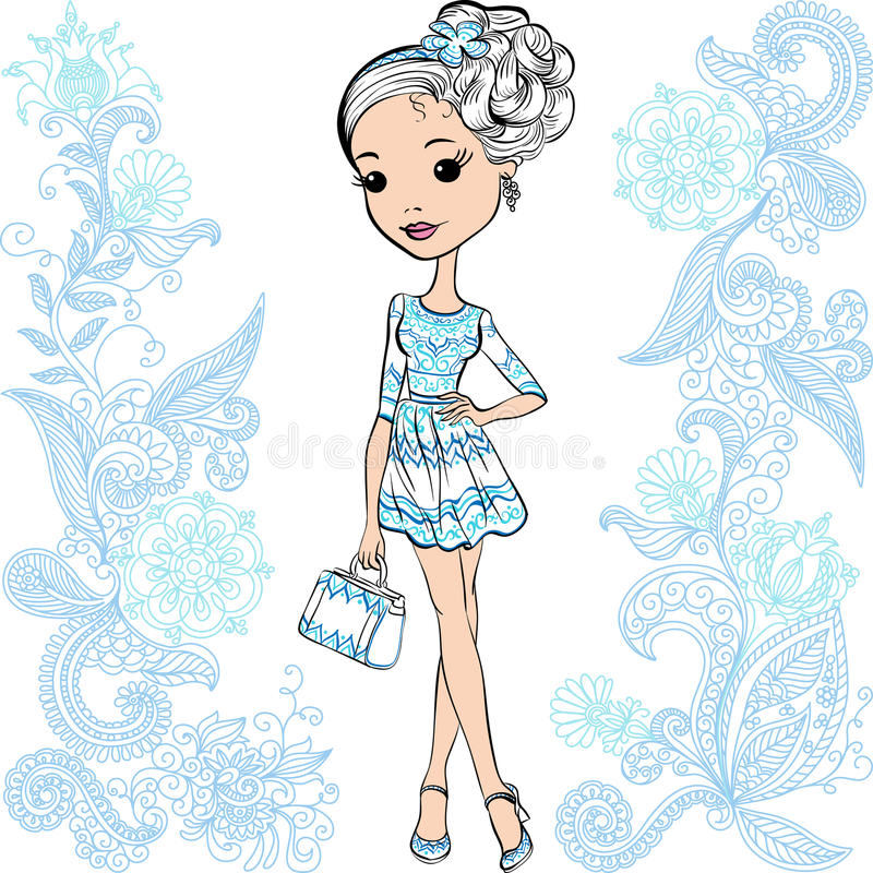 Vector fashion cute happy girl royalty free stock photos