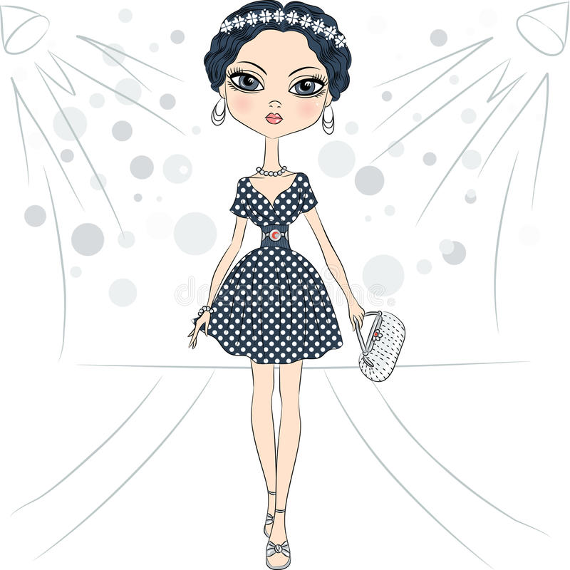 Vector fashion girl top model on the catwalk royalty free illustration