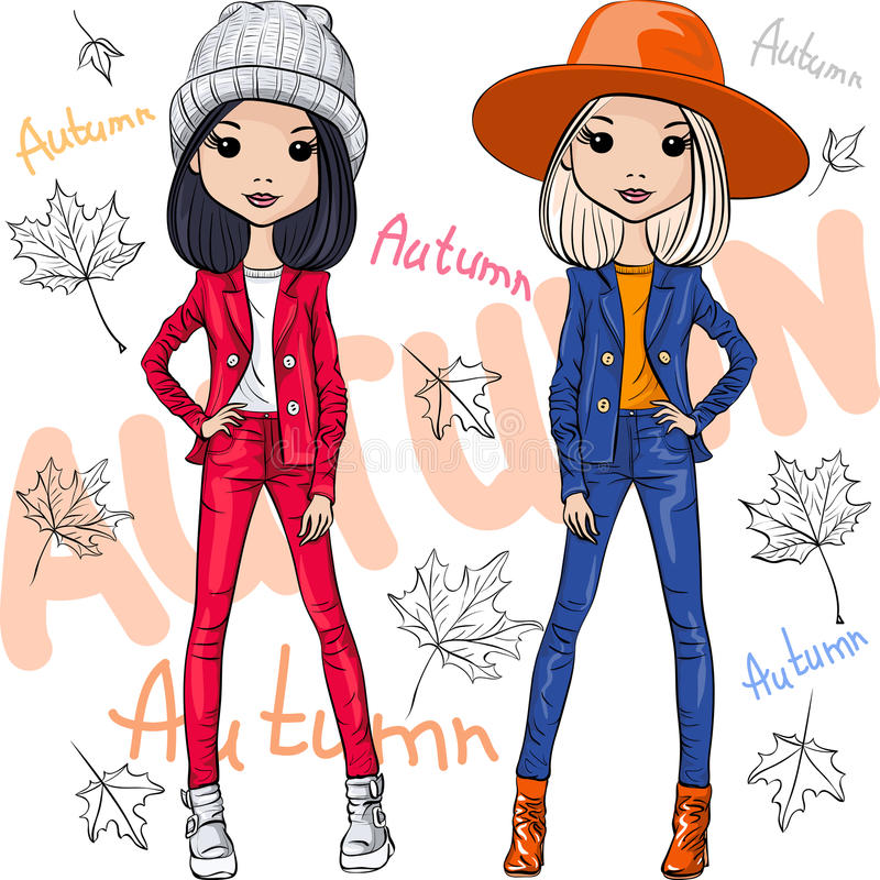 Vector fashion girls in autumn clothes stock image