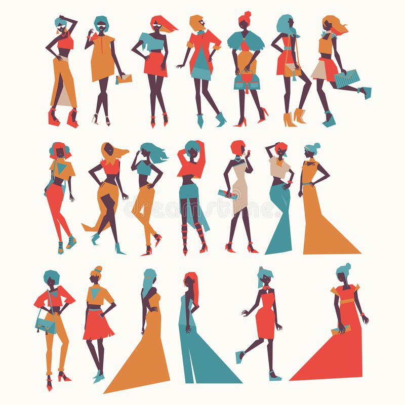 Vector fashion girls in different apparel - evening dresses, casual look, various poses and accesories. Bright illustration for vo royalty free illustration