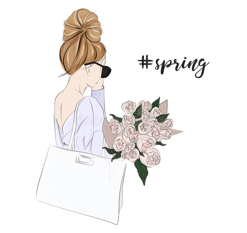 Vector fashion glamour illustration of dirl holding bouquet of flowers. Tender woman with roses spring portrait. Beautiful floral stock illustration