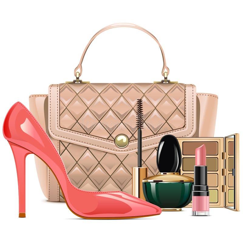 Free Vector Fashion Handbag With Makeup Cosmetics Stock Photo - 129354160