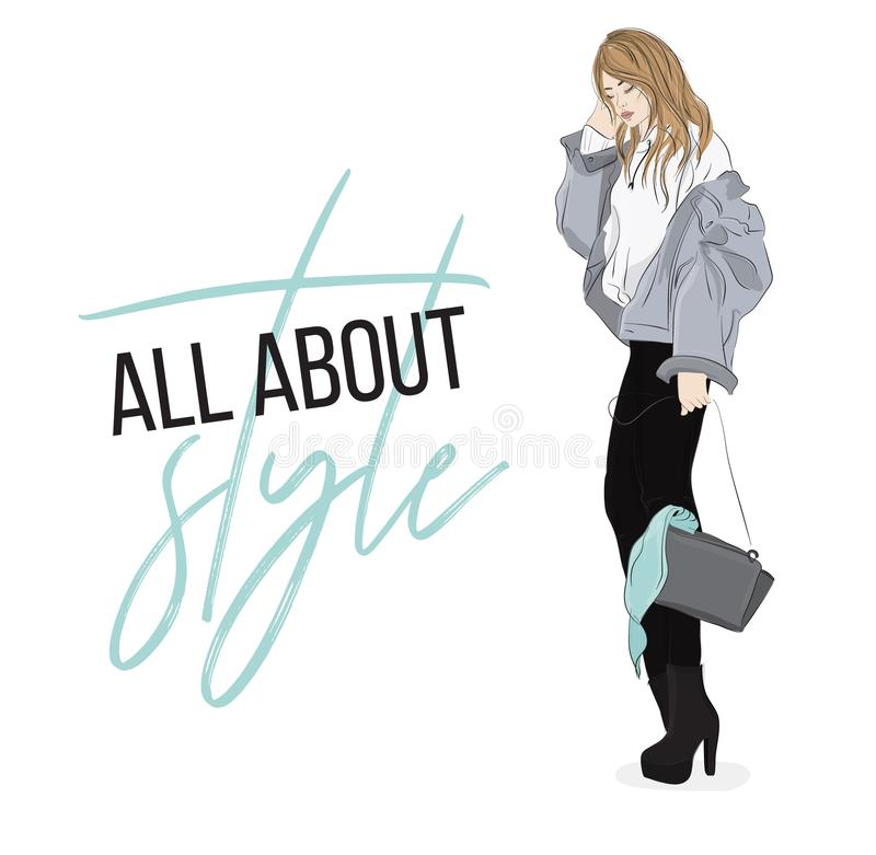 Vector fashion illustration. Casual look outfit. Woman in denim jacket, hooodie, pants and shoues going out. Magazine illustration royalty free illustration