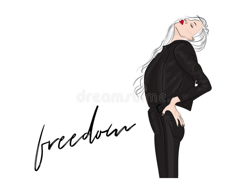 Vector fashion illustration. Glamour blonde woman with red lips in leather jacket and pants. Magazine sketch print. 2018 outfit vector illustration