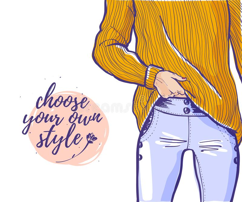 Vector fashion illustration with lady portrait in yellow sweater, blue jeans, text space isolated on white background. vector illustration