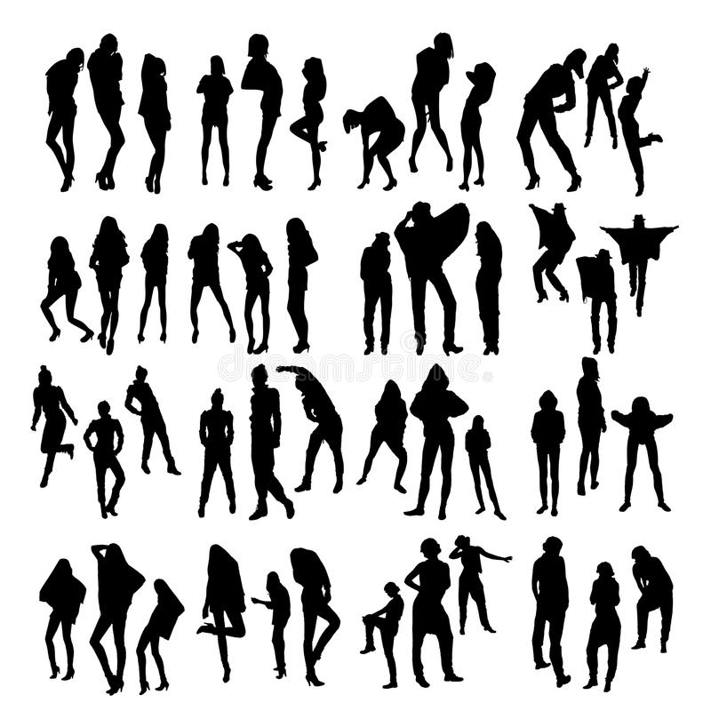 Fashion Model Silhouettes Stock Vector. Illustration Of