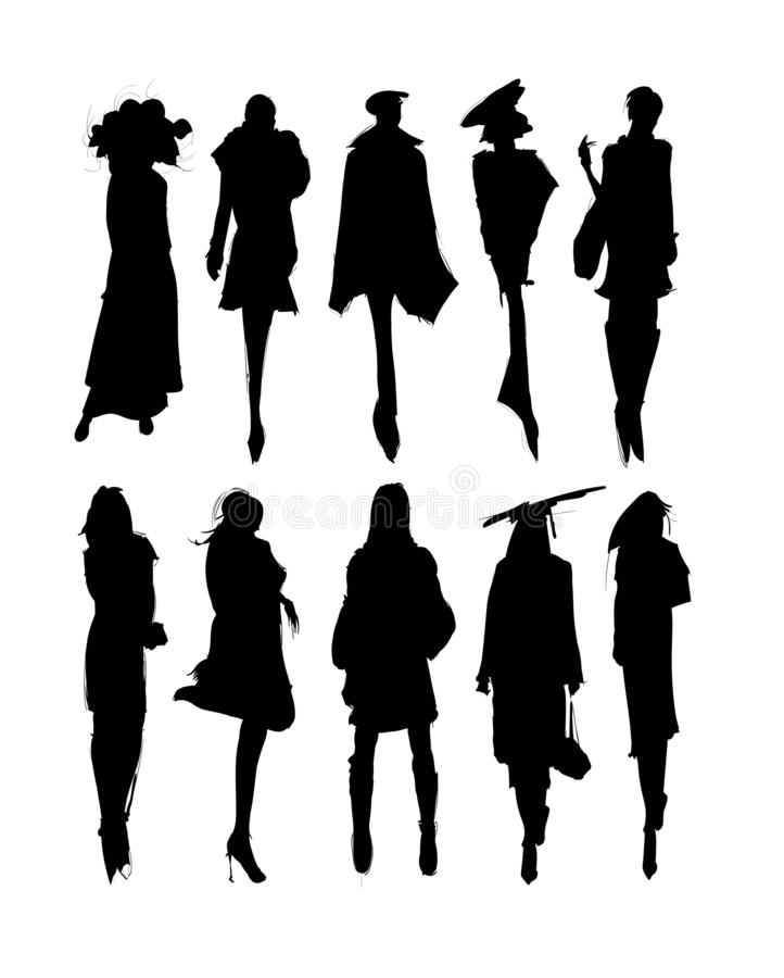 Vector Fashion Model Silhouettes. Sketch Fashion Girls on a white background vector illustration