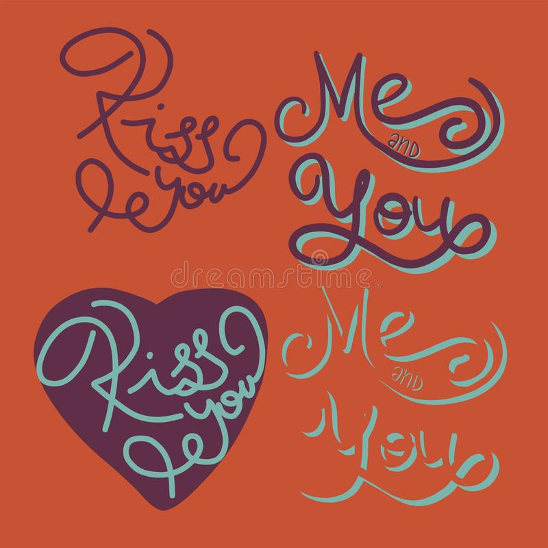 Kiss you phrase. Hand lettering. Perfect for greeting cards, quotes, blogs, posters and more. T-shirt design. Love royalty free illustration