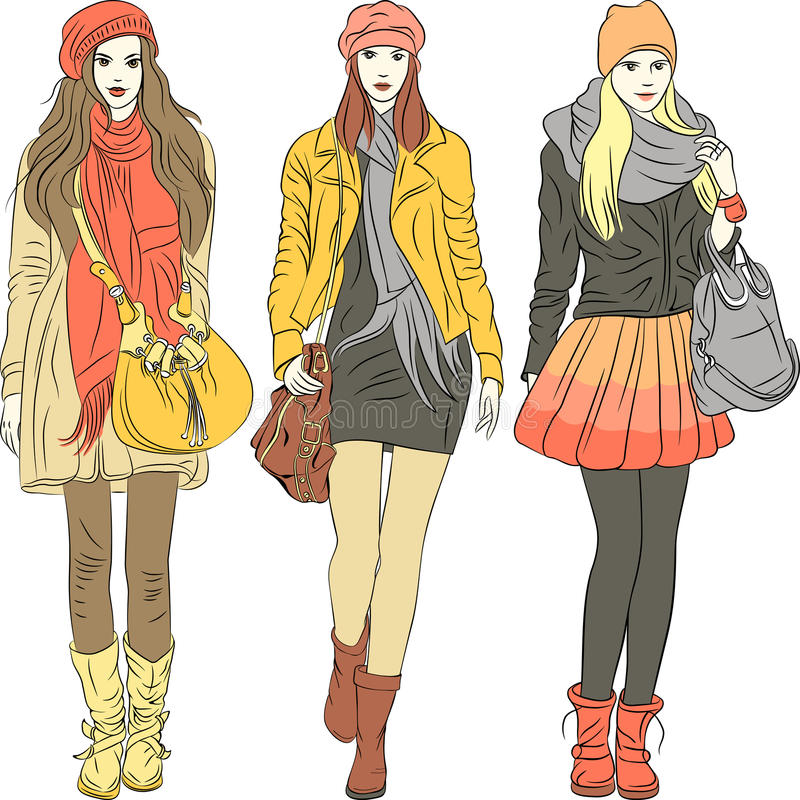 Download Vector Fashion Stylish Girls In Warm Clothes Stock Vector - Image: 29693818