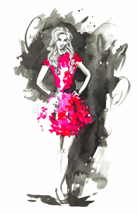Vector Fashion woman in red. Watercolor illustration. royalty free illustration