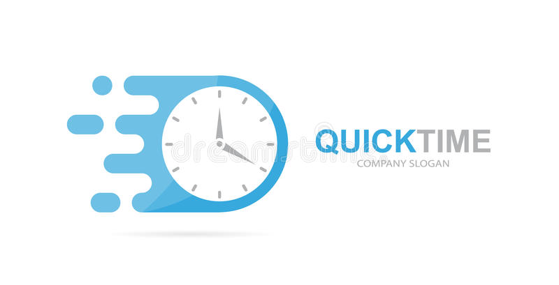 Vector fast clock logo combination. Speed timer symbol or icon. Unique express and watch logotype design template. royalty free illustration