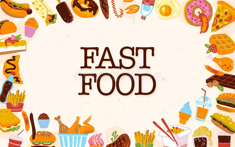 Vector fast food frame illustration with junk food menu items - burger, pizza, desserts, hot dogs etc on light textured background. Hand drawn sketch style stock illustration