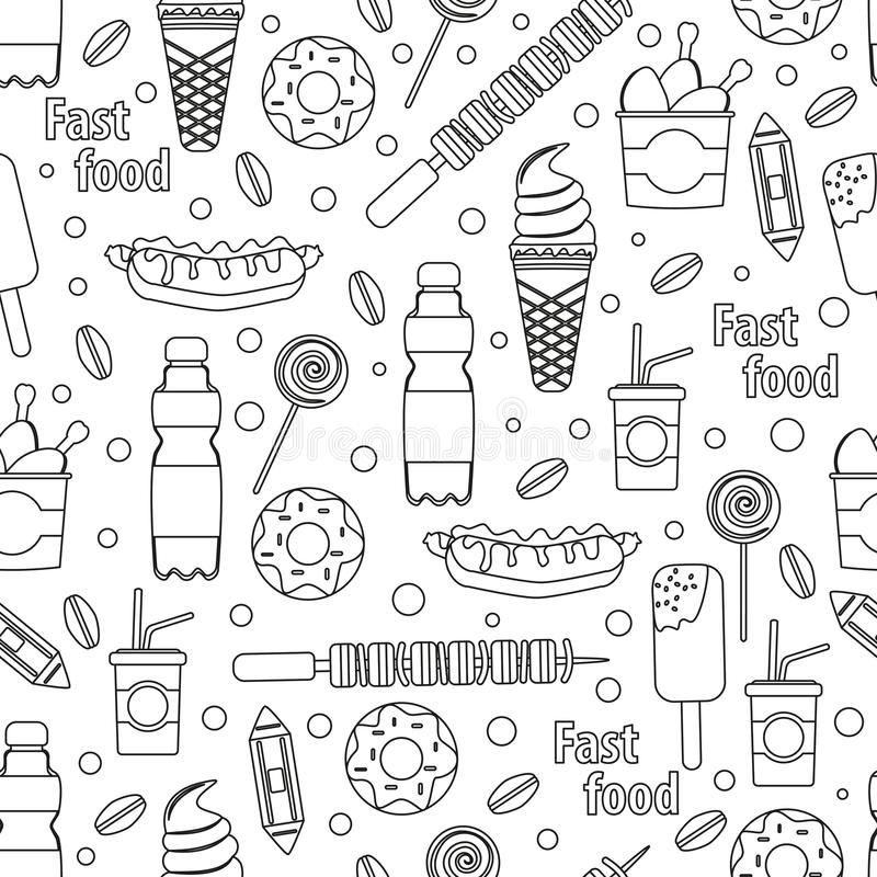 Vector fast food seamless pattern. Outline restaurant set like coffee, pizza, hamburger and ice cream royalty free illustration