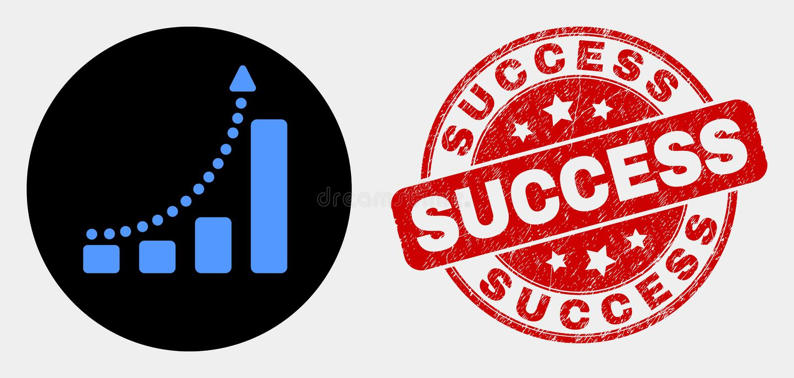 Vector Fast Growing Trend Icon and Grunge Success Stamp Seal vector illustration