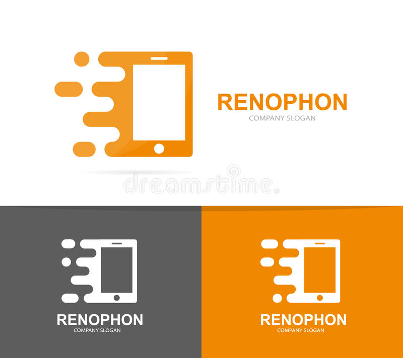 Vector fast smart phone logo combination. Speed mobile symbol or icon. Unique social and digital logotype design stock illustration