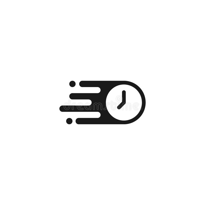 Fast flat mail icon. Vector Fast time icon logo royalty free illustration