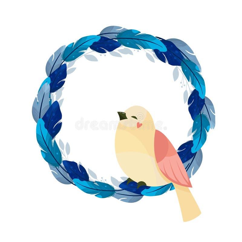 Vector feathers frame on white background royalty ilustracja