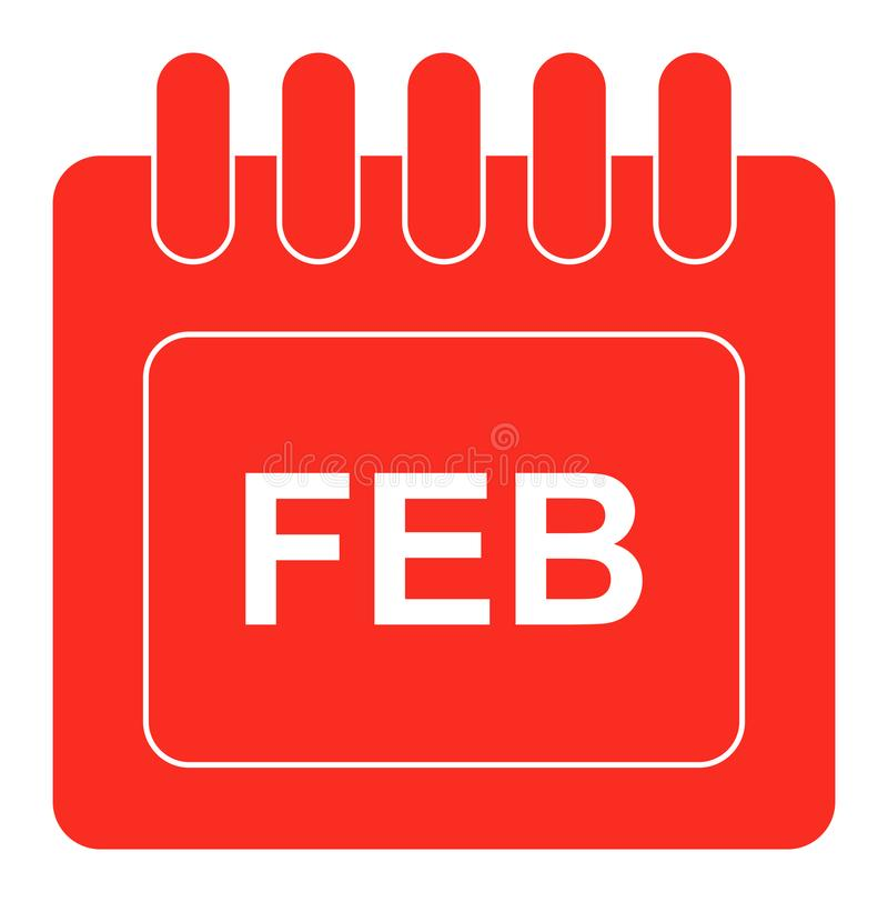 Vector february on monthly calendar red icon. Simple vector illustration of february on monthly calendar red icon on white background stock illustration