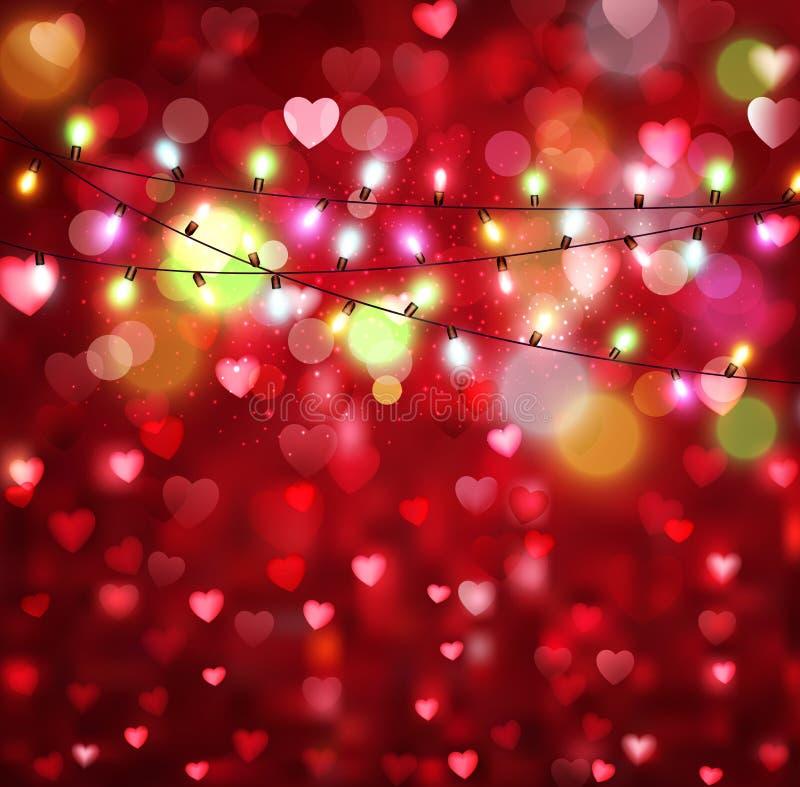 Vector feestelijke achtergrond voor de Dag van Valentine met harten en gl royalty-vrije illustratie