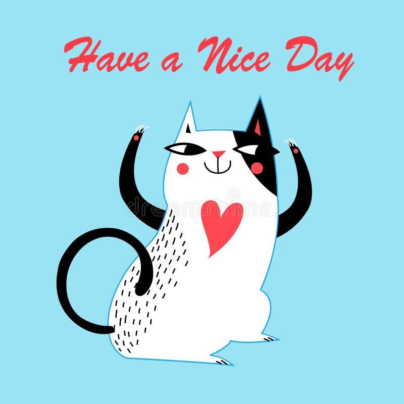 Vector Feiertagsgrußkarte mit einer netten Katze vektor abbildung