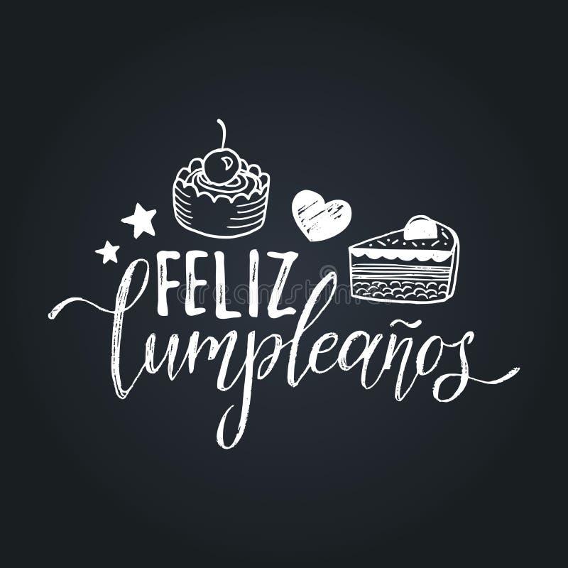 Vector Feliz Cumpleanos, progettazione di iscrizione tradotta di buon compleanno Illustrazione festiva con il dolce per le cartol royalty illustrazione gratis