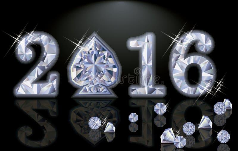 Vector feliz de la espada del póker del diamante del Año Nuevo 2016 ilustración del vector