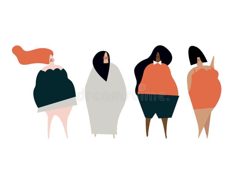 Vector feliz de las mujeres del tamaño extra grande libre illustration