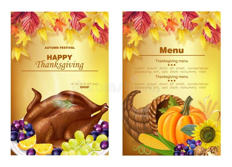 Vector feliz de los vales del menú de la acción de gracias realista Turquía, calabaza, y frutas La caída 3d del otoño detalló eje libre illustration