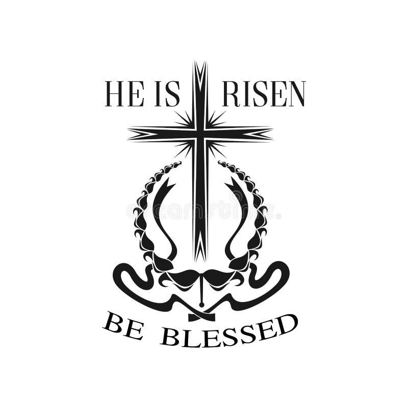 Vector feliz de Pascua él es icono cruzado subido stock de ilustración