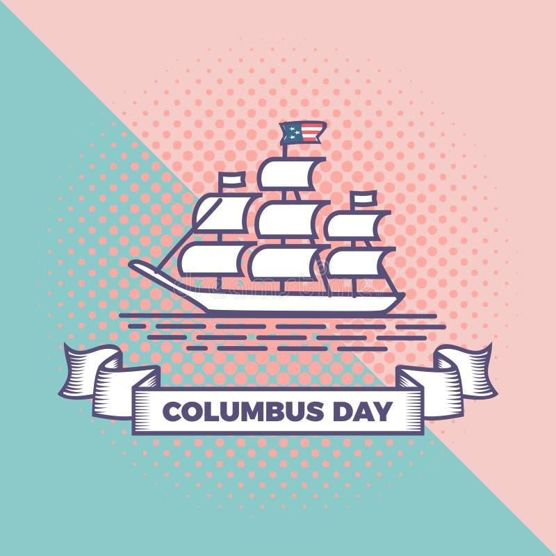 Vector feliz del día de Colón con el fondo en colores pastel dinámico Diseño de la celebración del saludo del fondo del estilo de stock de ilustración