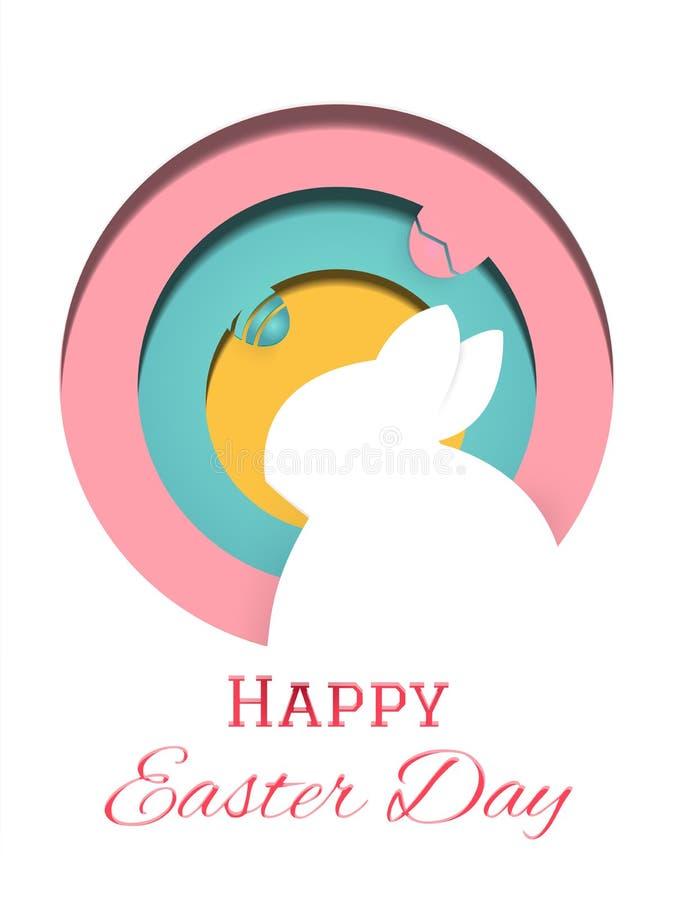 Vector feliz del ejemplo de la tarjeta de felicitaci?n del d?a de Pascua Huevos del conejo y de Pascua en la composici?n Concepto stock de ilustración