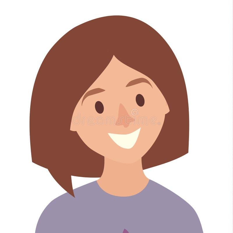Vector feliz del icono de las muchachas Ejemplo del icono de la mujer joven Cara del estilo plano de la historieta del icono de l stock de ilustración