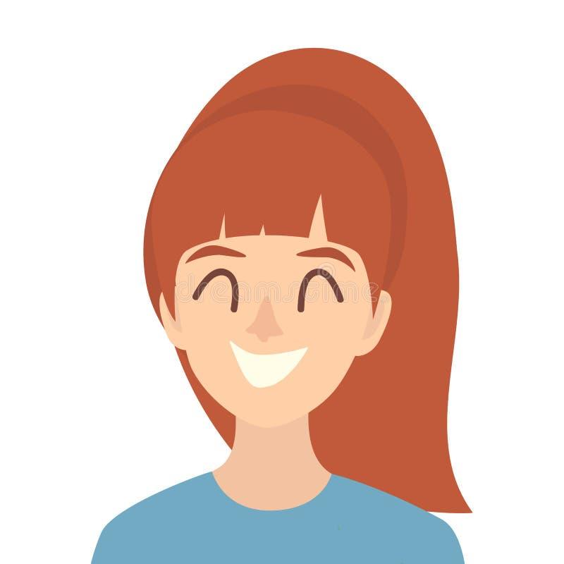 Vector feliz del icono de las muchachas Ejemplo del icono de la mujer joven Cara del estilo plano de la historieta del icono de l libre illustration