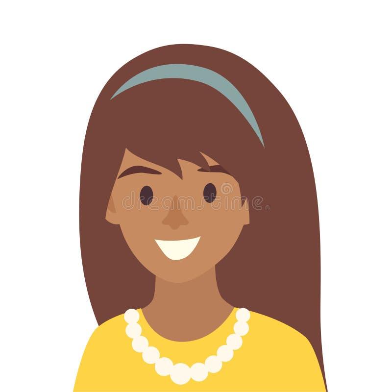 Vector feliz negro del icono de las muchachas Ejemplo del icono de la mujer ilustración del vector