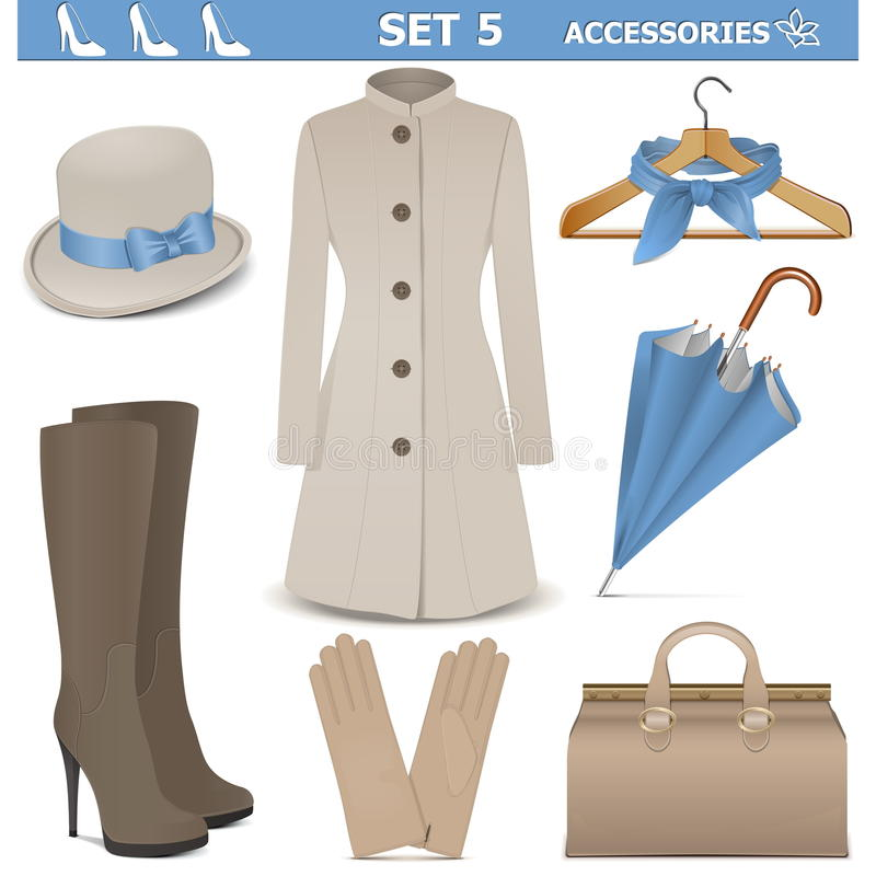 Vector Female Accessories Set 5 royalty free illustration