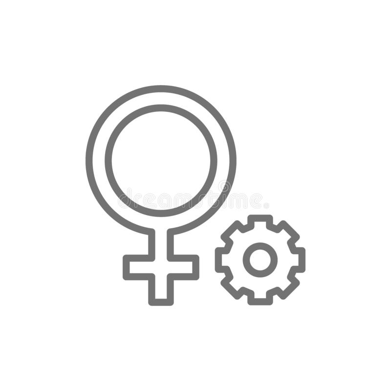 Female gender symbol line icon. Vector female gender symbol line icon. Sign illustration design. Isolated on white background royalty free stock photography