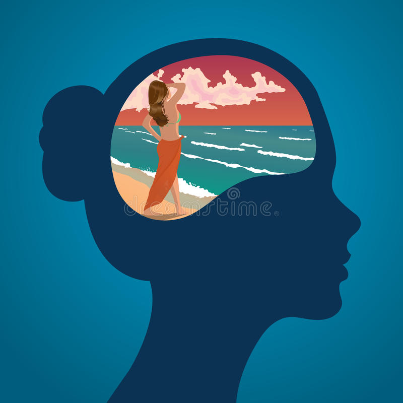 Vector female silhouette of head with dream of enjoying sunset on a beach stock photo