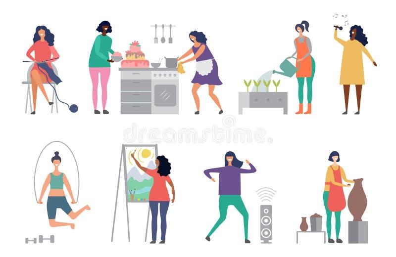 Vector femenino de las aficiones Artista, cantante, ejemplos del vector de los caracteres de la mujer del alfarero stock de ilustración