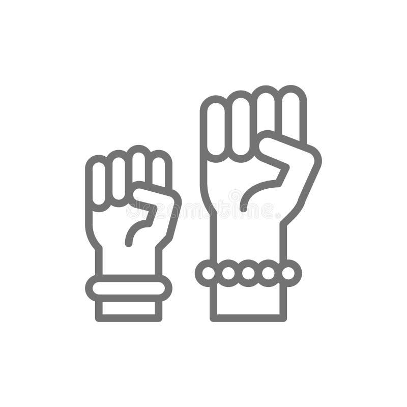 Feminism protest symbol, women power line icon. royalty free illustration