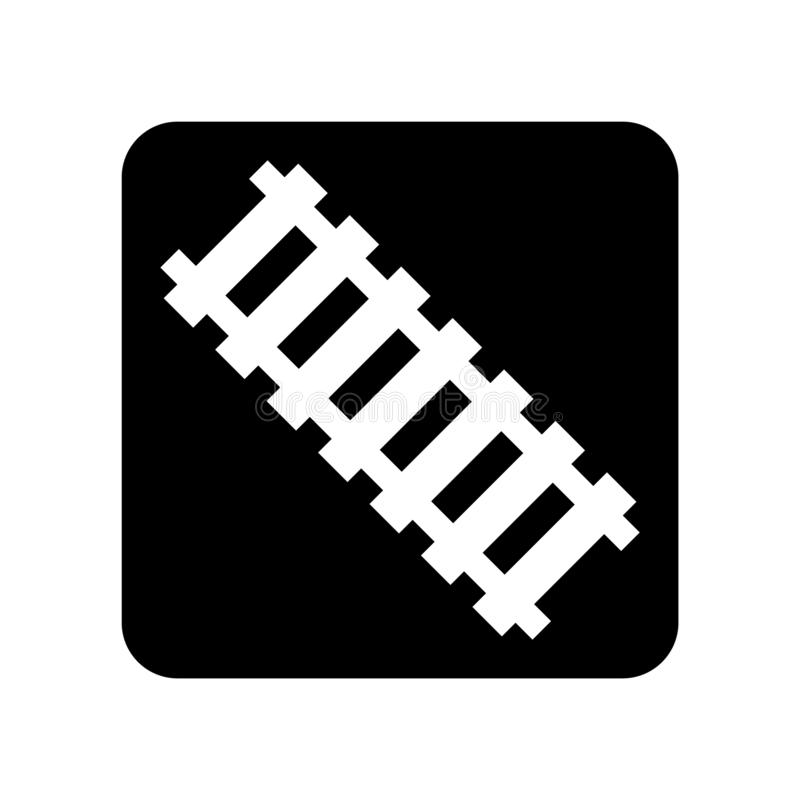 Vector ferroviario del icono aislado en el fondo blanco, muestra ferroviaria stock de ilustración