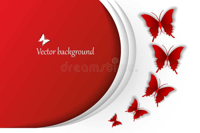 Vector festival background with red butterflies fly with a volume effects, illustration. Vector festival background with red butterflies fly with a volume royalty free illustration