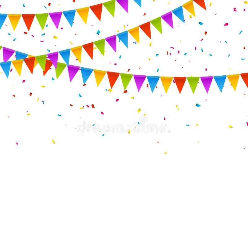 vector festive card with confetti party invitation design template