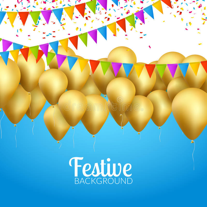 Vector festive card golden balloons and confetti, party invitation. Festive celebration background stock illustration