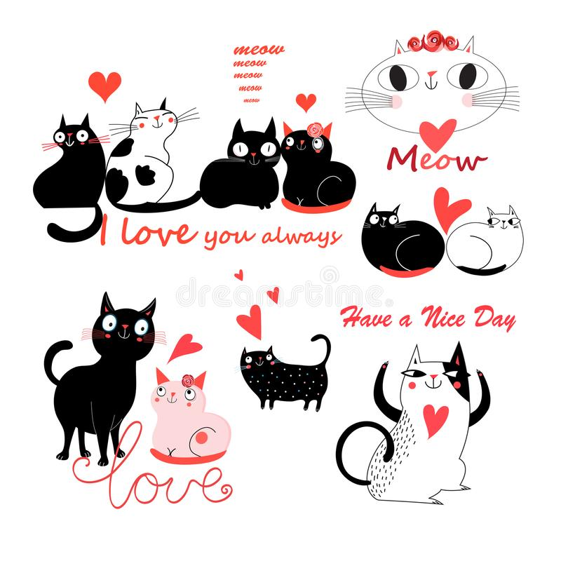 Vector festive funny set of enamored cute cats stock illustration