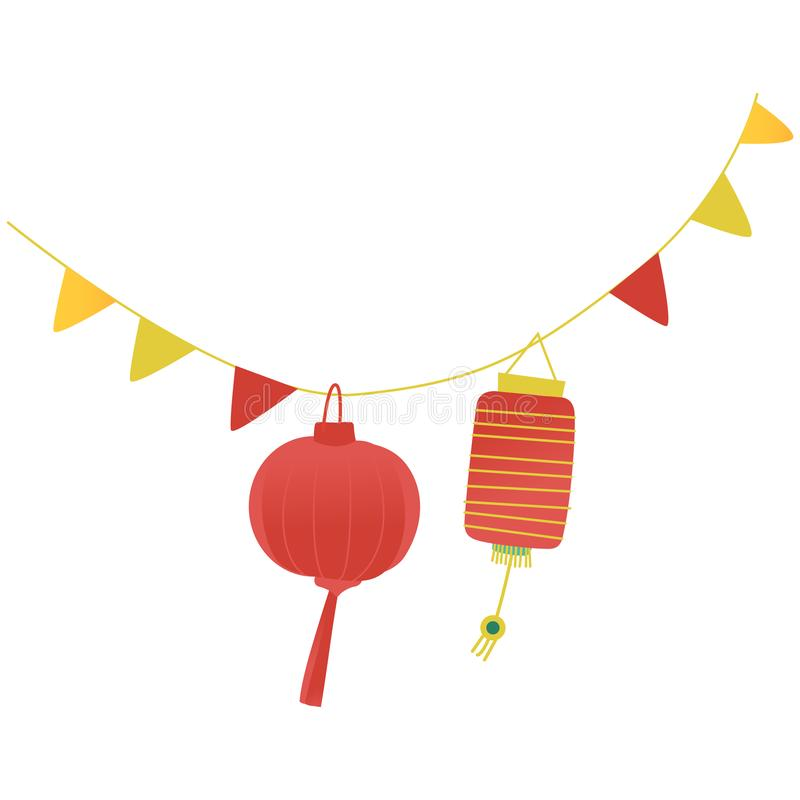 Vector festive paper lanterns on a string. Vector festive paper lanterns, flags hanging on a string. Colorful decoration for traditional celebration. Chinese royalty free illustration